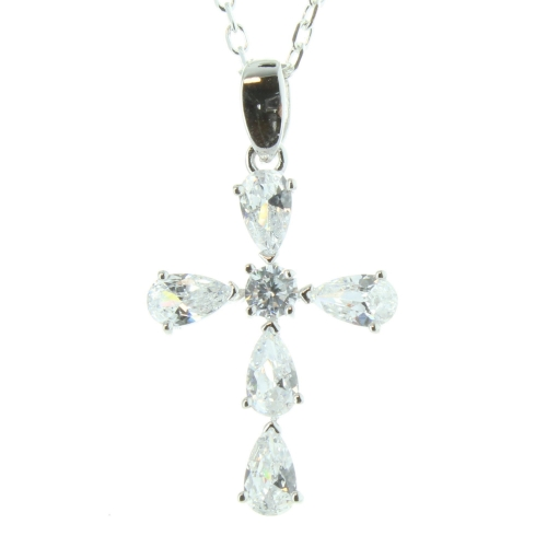 Silver Cross Pendant with Zirconia and Chain 50cm
