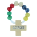 One-decade cord rosary, colour wood beads.