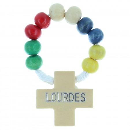 Rosario decina di corda, perline di legno colorato