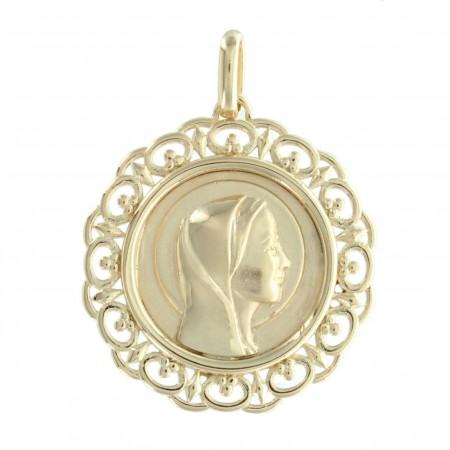 Médaille Plaqué Or 18 carats ronde, Vierge Marie ajourée et contours dentelés