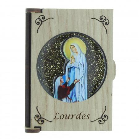 Boîte en bois pour chapelet avec l'Apparition de Lourdes sur fond pailleté