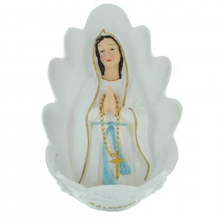 Bénitier en résine avec le buste de Notre Dame de Lourdes 32cm