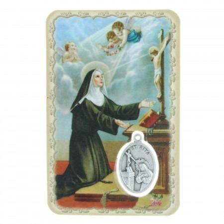 Images religieuse de Sainte Rita avec une médaille