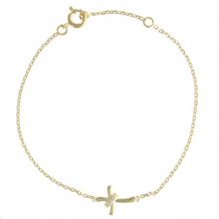 Bracelet Plaqué Or avec une croix moderne et des strass