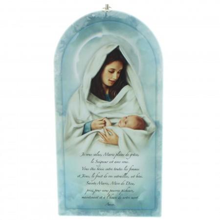 Cadre en bois de la Vierge à l'Enfant avec la prière de l'Ave Maria 24cm