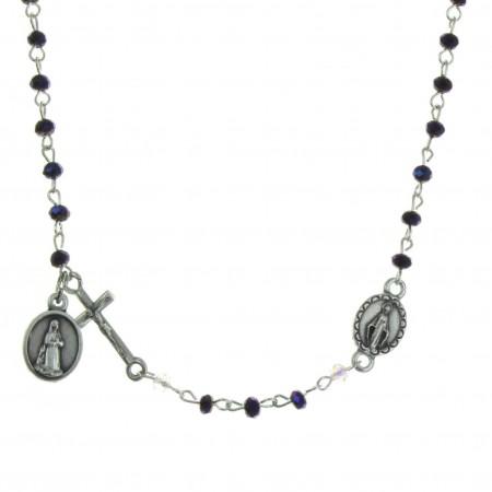 Collier chapelet grains cristal véritable et coeur Vierge Miraculeuse