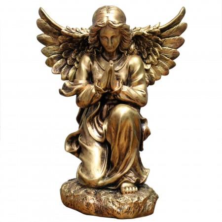 Statue d'Ange priant en résine effet bronze 50cm