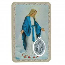 Our Lady of Grace Prayer Card with a medal