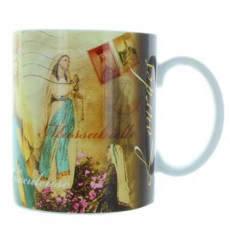 Tazza di Lourdes con decorazioni vintage