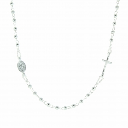 Silver Rosary Necklace with a Miraculous Medal