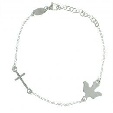 Bracciale in argento con una colomba e una croce