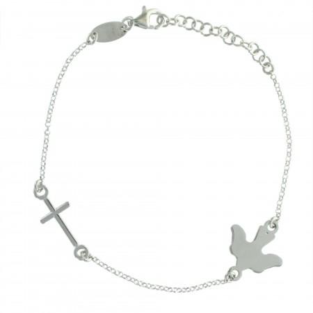 Bracelet en Argent avec une colombe et une croix