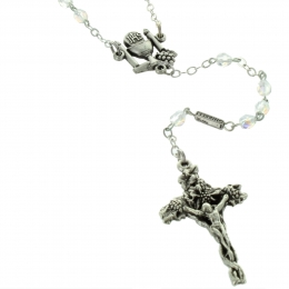 Communion Rosary crystal glass beads