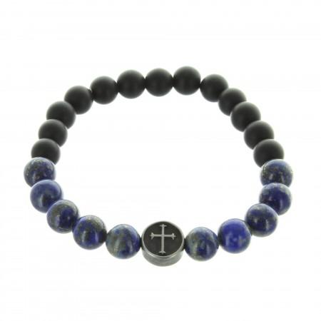 Bracelet religieux en pierre d'agate noire et Lapis Lazuli