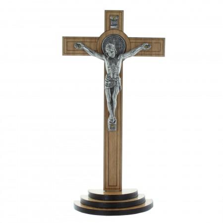 Crucifix bois de Saint Benoît à poser 18cm