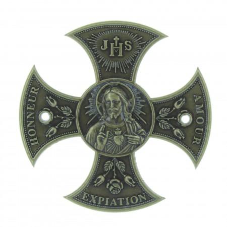 Croix du Sacré Coeur de Jésus en Bronze 8cm
