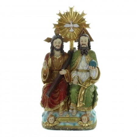 Statue de la Sainte Trinité en résine colorée 32cm