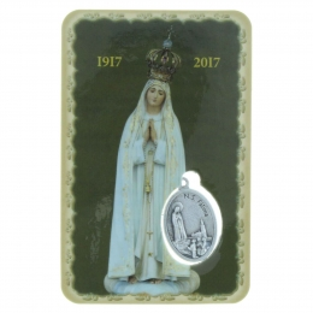 Image religieuse de Notre Dame de Fatima avec une médaille