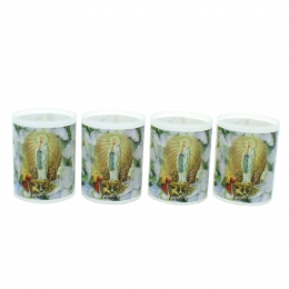 Batch of four Our Lady of Lourdes and prayers votive candle 6 cm
