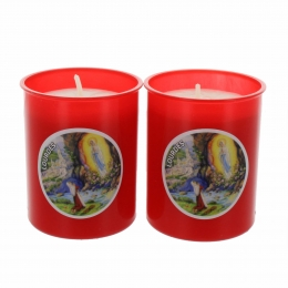 Batch of two Our Lady of Lourdes Apparition red votive candle 6.5 cm