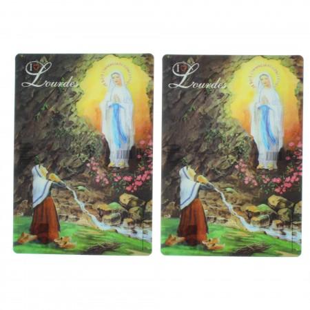 2 pieces set Lourdes Apparition 3D postcards