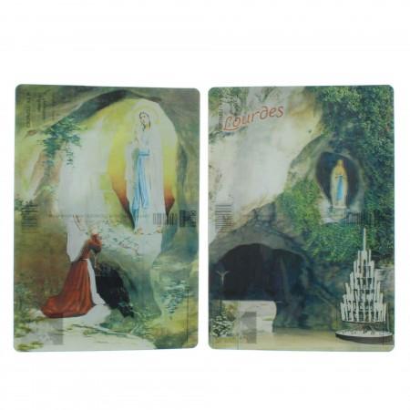 2 pieces set bidimensional postcards of Lourdes Apparition