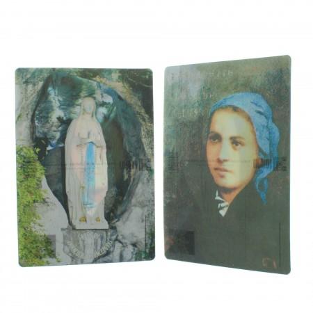 2 pieces set Our Lady of Lourdes bidimensional postcards