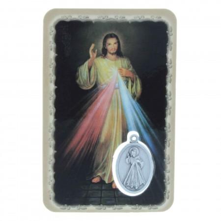 Image religieuse du Christ Miséricordieux avec une médaille