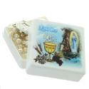 Chapelet de communion en boite avec des grains nacrés