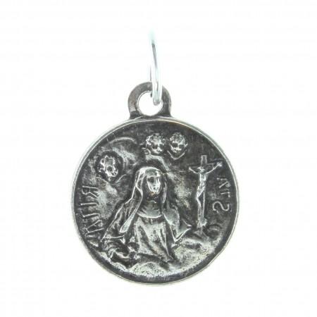 Médaille de Sainte Rita en métal argenté 15mm