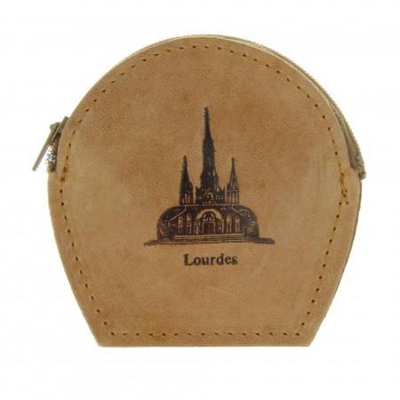 Etui à chapelet en cuir décoré avec la Basilique de Lourdes