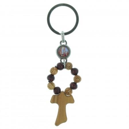 Porte-clés avec un dizainier en bois et une croix tau