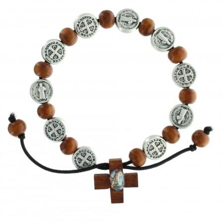 Bracelet de Saint Benoît avec des perles en bois et une croix
