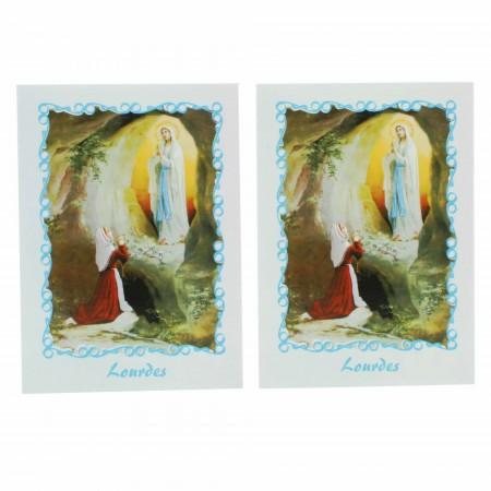 Partita di 2 immaginette religiose dell'Apparizione di Lourdes e testo in inglese