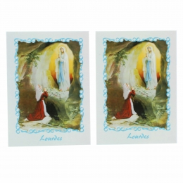 2 pieces set Lourdes mass cards and text in English