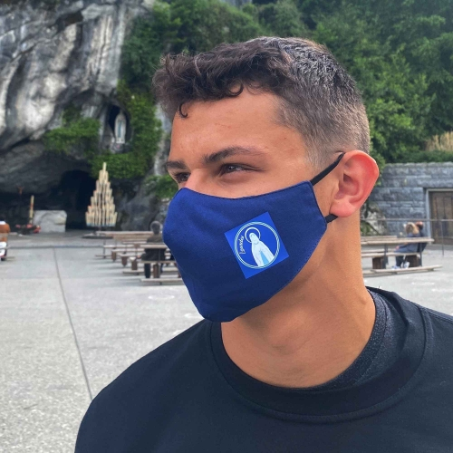 Fabric mask with Our Lady of Lourdes