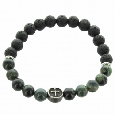 Bracelet religieux en pierres de lave noire et agathe