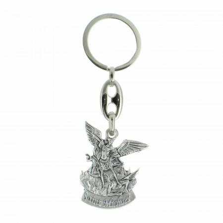Porte-clé de Saint Michel en métal argenté