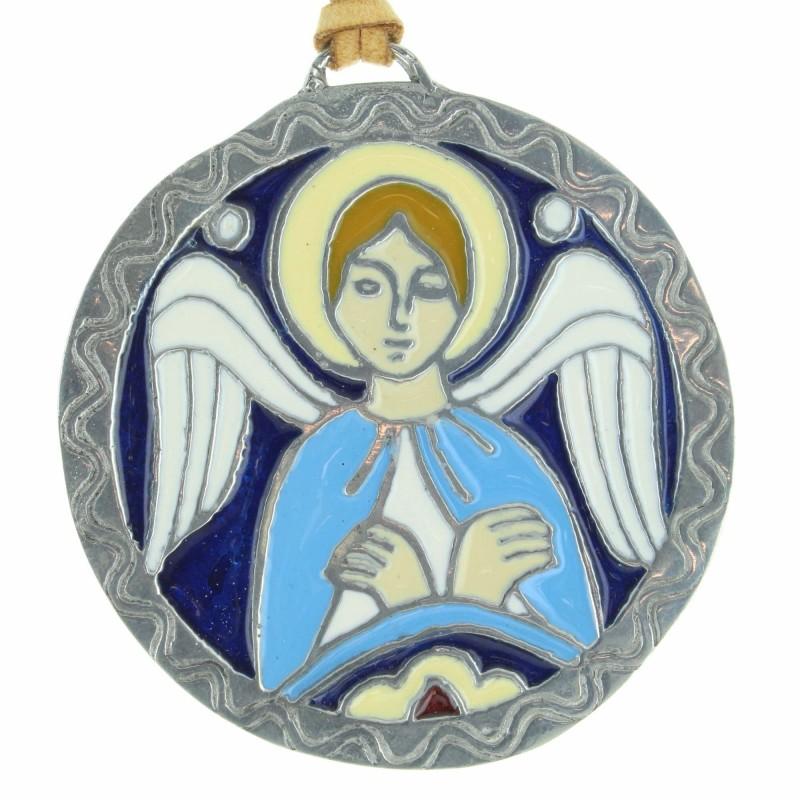 Médaille de baptême en étain avec un Ange coloré
