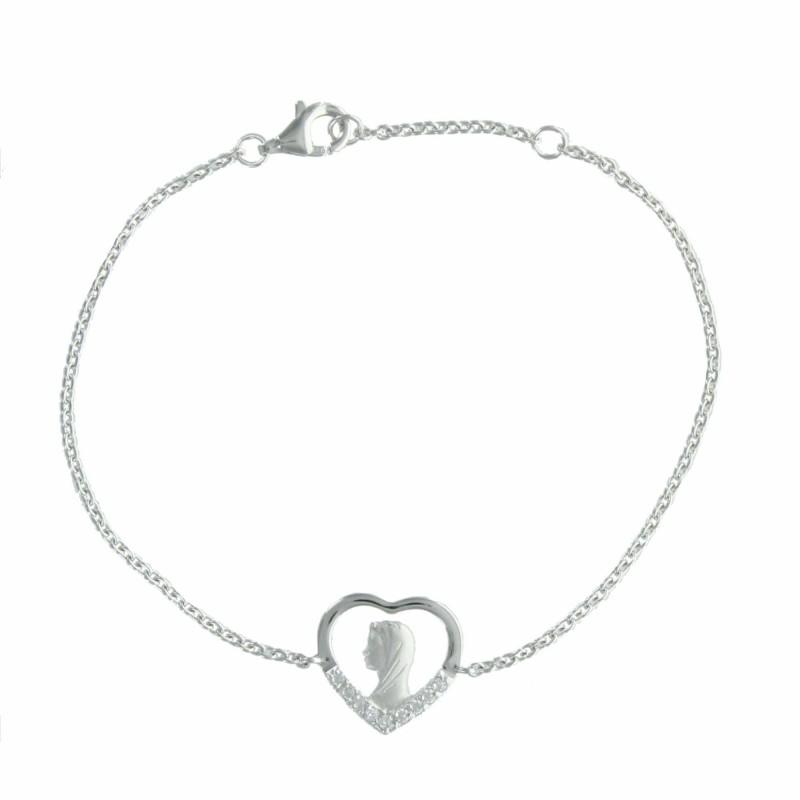 Bracelet en Argent avec la Vierge Marie dans un coeur