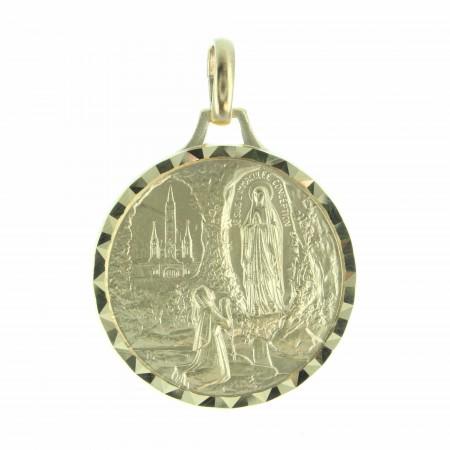 Médaille de l'Apparition de Lourdes et de la Vierge en métal doré 26mm
