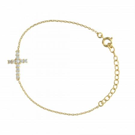 Bracelet Plaqué Or avec une croix centrale ornée de strass