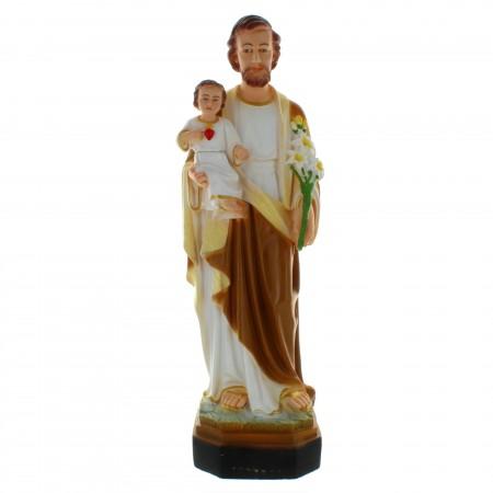 Statue de Saint Joseph à l'Enfant Jésus en résine colorée 40cm