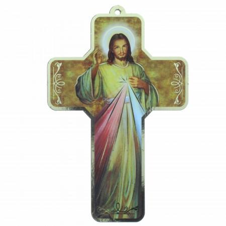 Croix en bois de Jésus Miséricordieux 18 cm