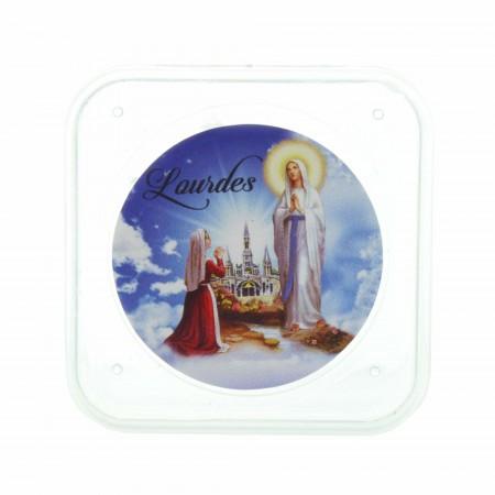Scatola per rosari quadrata trasparente Apparizione di Lourdes