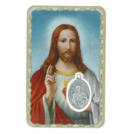 Image religieuse Sacré Coeur de Jésus avec une médaille