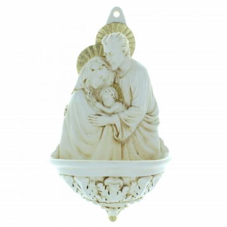Acquasantiera Sacra Famiglia in resina 20cm
