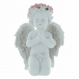 Kneeling Angel with a crown of coloured roses 14cm