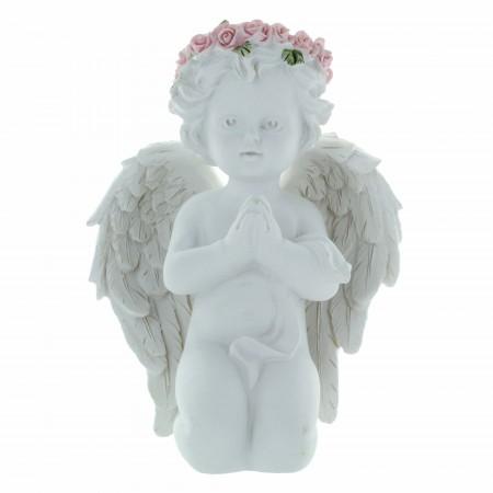 Statue Ange à genoux avec une couronne de roses colorées 14cm
