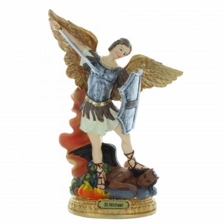 Statua di San Michele con uno scudo in resina colorata 20cm